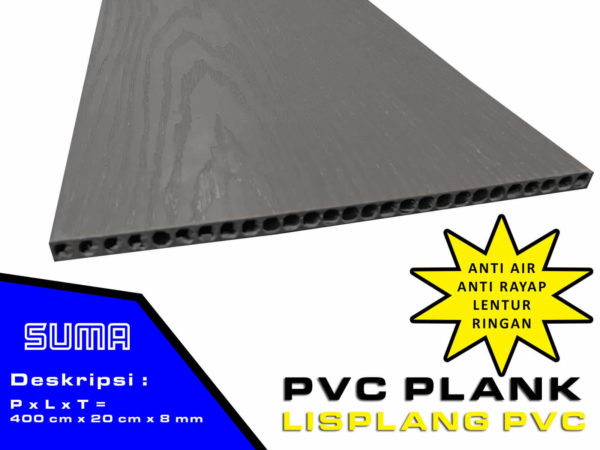 Lisplang PVC Dark Gray Wood Pattern